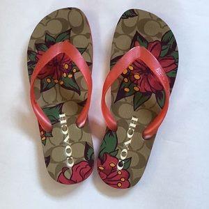 Coach Blue Hawaii flip flop sandals spa shoes